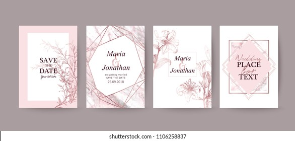 Set of elegant brochure, card, cover. Pink, white and rose gold marble texture. Vintage  golden background. Geometric frame.  Botanical art. Hand drawn lilies.
