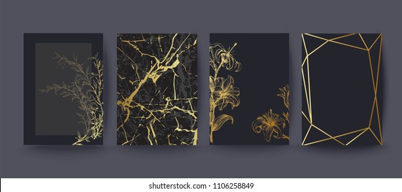 Set of elegant brochure, card, cover. Black and golden marble texture. Vintage  gold background. Geometric frame. Floral, botanical art.