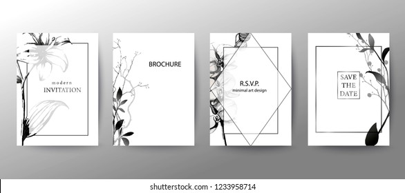 \t\nSet of elegant brochure, card, cover. Black and white botanical design. Minimal modern style frame, composition for text. Botanical art. Hand drawn lilies, orchids, leaves.