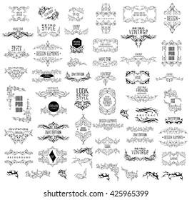 Set of elegant calligraphic design. Vector  linear frame and calligraphic ornament. Trendycalligraphic and linear frame. Calligraphic set