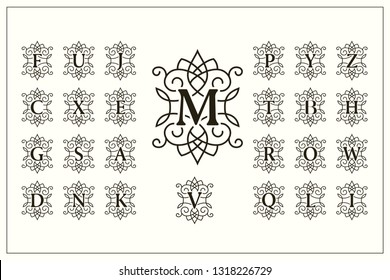 Set of Elegant Capital Letters. Vintage Logos. Filigree Monograms. Beautiful Collection. English Alphabet. Simple Drawn Emblems. Graceful Style. Design of Calligraphic Insignia. Vector Illustration