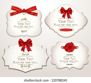 Set of elegant cards with red bows