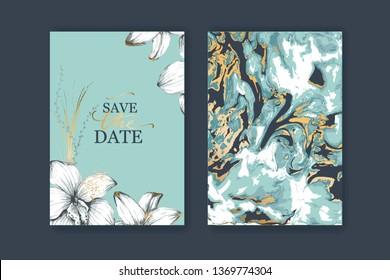 Set of elegant, chic brochure, card, cover. Blue, white and gold marble texture. Botanical design for wedding invitation. Hand drawn lilies, plants.