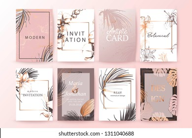 Set of elegant chic brochure,  covers, cards with exotic palm leaves, gold texture. Wedding, save the date design. Packaging branding style concept. Botanical art.
