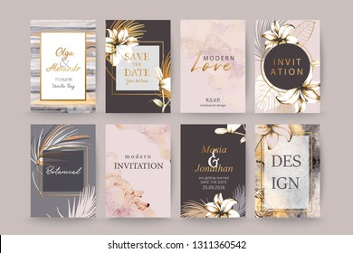 Set of elegant chic brochure,  covers, cards with exotic palm leaves, lilies, grey and gold watercolor texture. Wedding, save the date design. Packaging branding style concept.