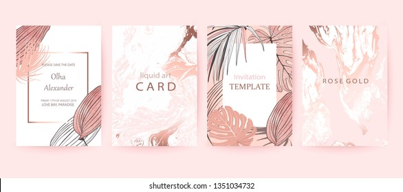 Set of elegant chic brochure,  covers, cards with exotic palm leaves, rose gold texture. Wedding, save the date design. Packaging branding style. Botanical art. Pink and white marble background.