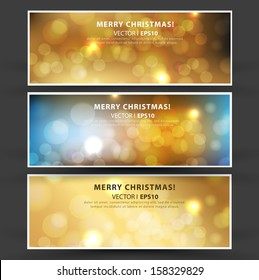 Set of Elegant Christmas banners with a gold background and bokeh effect. Vector EPS 10 illustration.
