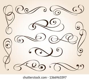 Set of elegant decorative scroll elements. Vector illustration.