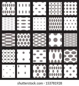 Set of elegant dot patterns in black and white.