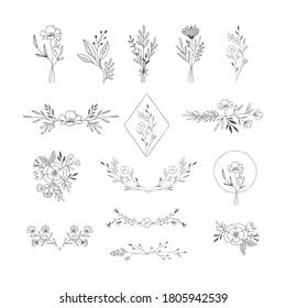 Set of elegant floral decorative elements. Flowers, bouquets, laurels. Vector isolated illustration.