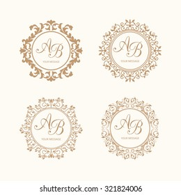 Set of elegant floral monogram design templates for one or two letters . Wedding monogram. Calligraphic elegant ornament. Business sign, monogram identity for restaurant, boutique, cafe, hotel