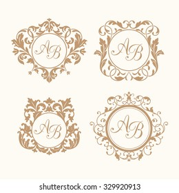 set of elegant floral monogram design templates for one or two letters wedding monogram