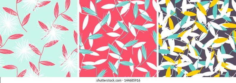 Set of elegant floral patterns. Vector seamless composition
