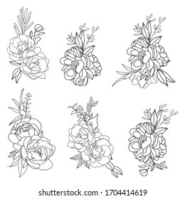 Set of elegant florals arrangements in black and white with white fill. Hand-drawn big flowers. Design wedding invitation, envelopes, greeting card template. Vector illustration