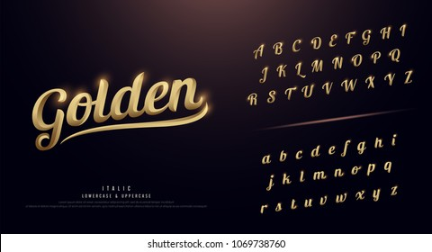 Set of Elegant Gold Colored Metal Chrome alphabet font. Typography classic style golden font set. vector illustration