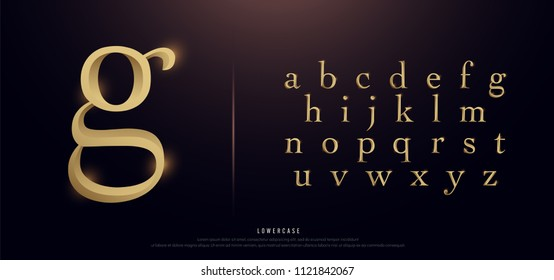 Set of Elegant Gold Colored Metal Chrome Lowercase Alphabet Font. Typography classic style golden font set for logo, Poster, Invitation. vector illustration
