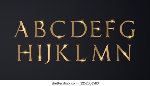 Set of Elegant and Gold Colored Metal Chrome Uppercase Alphabet Font for Luxury Wedding and Business Cards