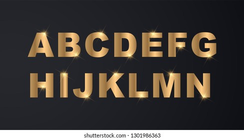 Set of Elegant and Gold Colored Metal Chrome Uppercase Alphabet Arial Font for Luxury Wedding and Business Cards