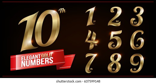 Set of Elegant Gold Colored Metal Chrome numbers. 1, 2, 3, 4, 5, 6, 7, 8, 9, 10, logo design