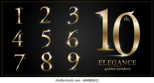 Set of Elegant Gold Colored Metal Chrome numbers. 1, 2, 3, 4, 5, 6, 7, 8, 9, 10, logo design, Golden metallic font typography numbers set. Vector illustration