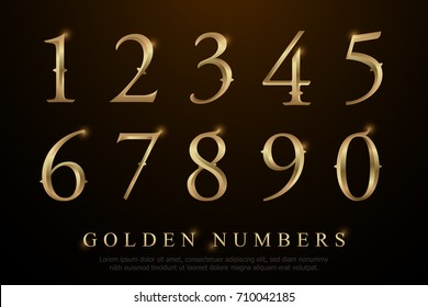 Set of Elegant Gold Colored Metal Chrome numbers. golden numbers 1, 2, 3, 4, 5, 6, 7, 8, 9, 10, logo design