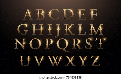 Set of Elegant Gold Colored Metal Chrome alphabet font. Typography classic style golden font set for logo, Poster, Invitation. vector illustrator