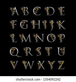 Set of Elegant Gold Uppercase Alphabet Font. Typography classic style golden font set for logo, Poster, Invitation. vector illustration