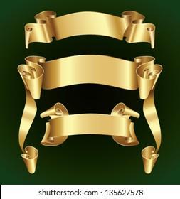 Set of elegant golden ribbons or banners