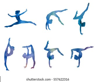 Set of elegant gymnast's silhouettes. Vector illustration with watercolor texture.