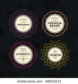 Set of Elegant Labels with Frames. Authentic Retro Vector Tags Design. Minimalistic Vine Bottle Badges.