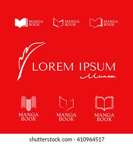 Set of Elegant logos with book and fountain pen symbol.