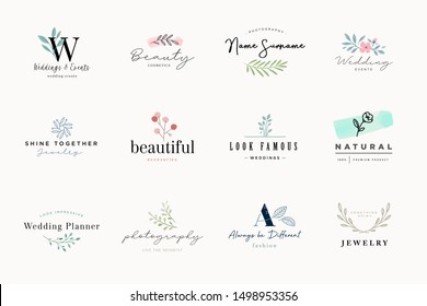 Set of elegant and luxury signs for beauty, natural and organic products, cosmetics, spa and wellness, fashion, wedding and jewelry. Vector illustrations for graphic and web design, marketing material