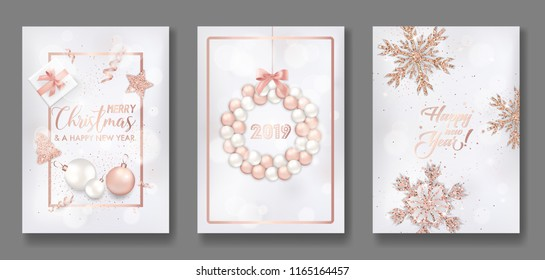 Set of Elegant Merry Christmas and New Year 2019 Cards with Shining Rose Gold Glitter Xmas Balls, Stars, Snowflakes for greetings, invitation, flyer, brochure, cover in vector