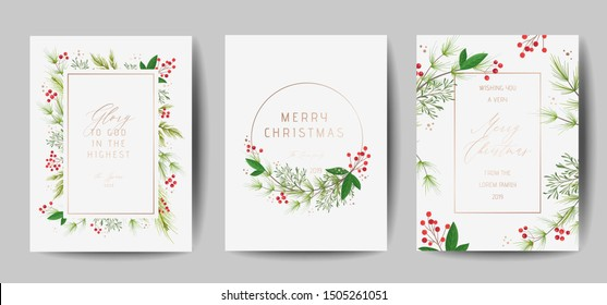 Set of Elegant Merry Christmas and New Year 2020 Cards with Pine Wreath, Mistletoe, Winter plants design illustration for greetings, invitation 2019, flyer, brochure, cover in vector