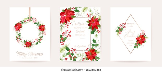 Set of Elegant Merry Christmas, Vector New Year 2021 Cards with Poinsettia Flower, Holly Berry, Mistletoe, Winter floral plants design illustration, greetings, invitation 2020, flyer, brochure, cover