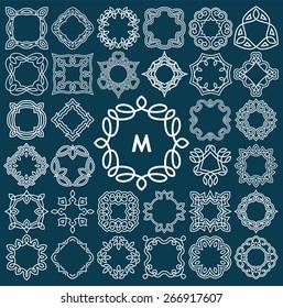 Set of elegant monogram design. Vector illustration.