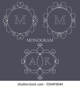 Set of elegant monogram templates with heart shapes design template for one or two letters