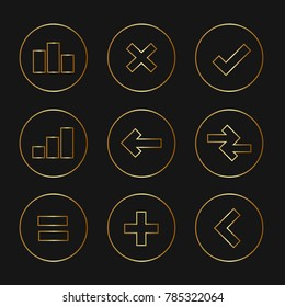 Set of elegant pictograms in gold gradient, finances, charts and graphs theme.