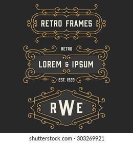 The set of elegant retro logo and monogram emblem templates. Vintage frames ornament design. Stock vector.