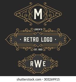 The set of elegant retro monogram emblem and  logo templates. Vintage frames ornament design. Stock vector.