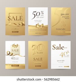 Set of elegant sale banners with golden bow, frame, ribbon and paper shopping bag. Vector template for website with gold background. Isolated from the background.
