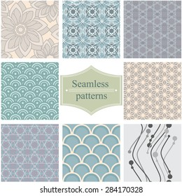Set of elegant seamless patterns, can be used for web, wallpaper, background, surface textures