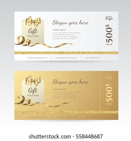 Set of elegant shiny gift voucher with golden bow, ribbon and paper shopping bag. Vector template for gift card, coupon and certificate with ornate background. Isolated from the background