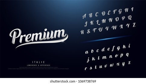 Set of Elegant silver Colored Metal Chrome alphabet font. Typography classic style serif font. vector illustration