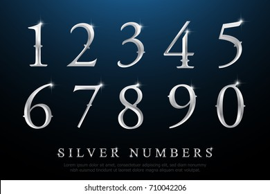 Set of Elegant Silver Colored Metal Chrome numbers. silver numbers 1, 2, 3, 4, 5, 6, 7, 8, 9, 10, logo design