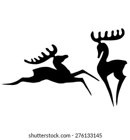 Set of elegant, stylized, graphic silhouettes of deer in the jump and standing isolated on white background. Black and white graphics are well suited for a logo.