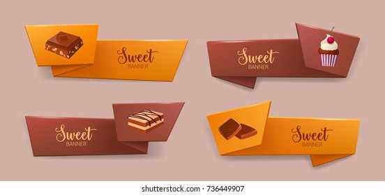 Set of elegant tape or ribbon banners with delicious desserts or tasty sweet courses - cookie, chocolate, cupcake. Colorful decorative elements. Vector illustration for bakery or confectionery ad.