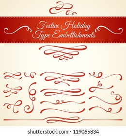 Set of elegant type embellishments and ornamental typographic elements. Festive calligraphic design style for seasonal holidays like Christmas and celebration. Invitation and greeting. Vector Eps10.