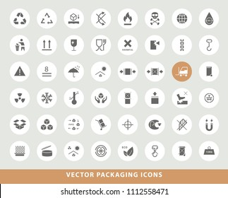 Set of Elegant Universal Black Minimalistic Solid Packaging Icons on Circular Colored Buttons on Grey Background