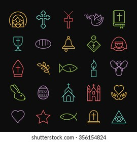 Set of Elegant Universal Minimal Thin Line Colored Neon Stroke Christian Icons with Color Gradient on Black Background.